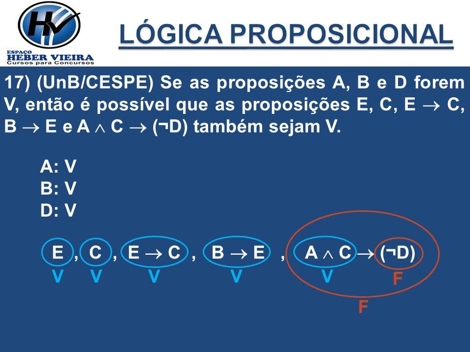 17) (UnB/CESPE) Se as proposições A, B e D forem V, então é possível que as proposições E, C, E C, B E e A C (¬D) também sejam V. A: V B: V D: V E, C,