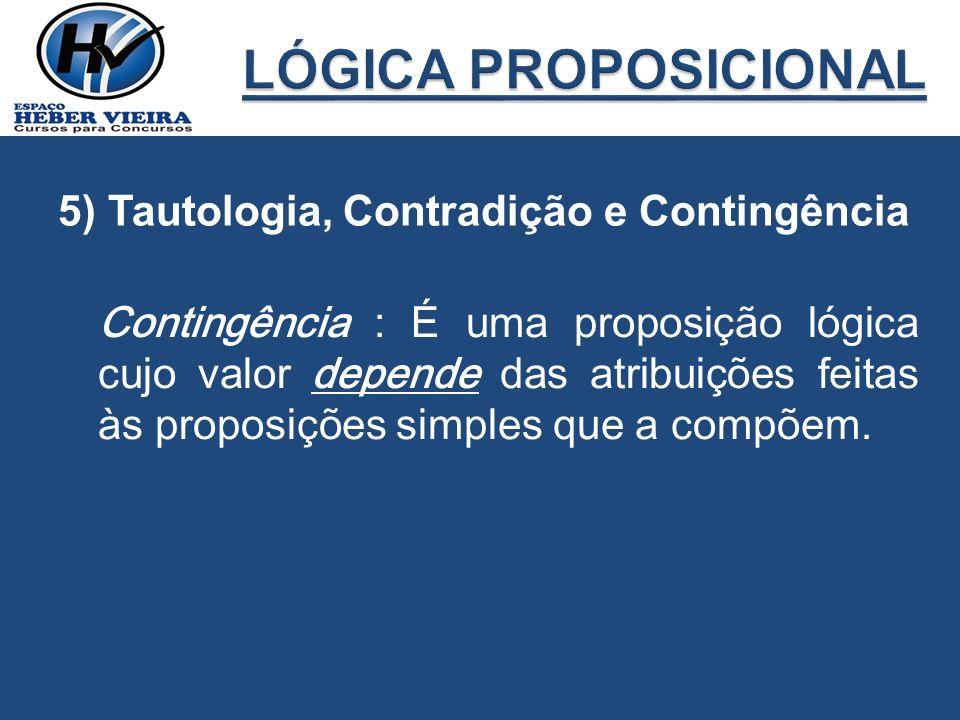 Contingência : É uma proposição lógica cujo valor depende das atribuições feitas às proposições simples que a compõem.