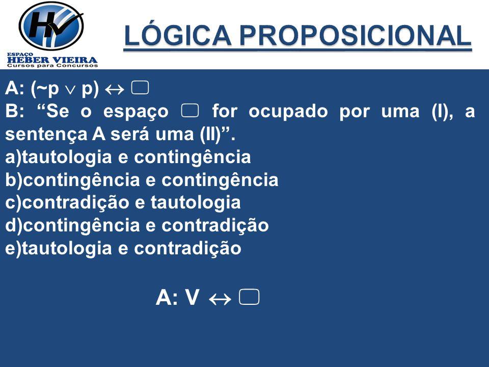 A: (~p p) B: Se o espaço for ocupado por uma (I), a sentença A será uma (II). a)tautologia e contingência b)contingência e contingência c)contradição
