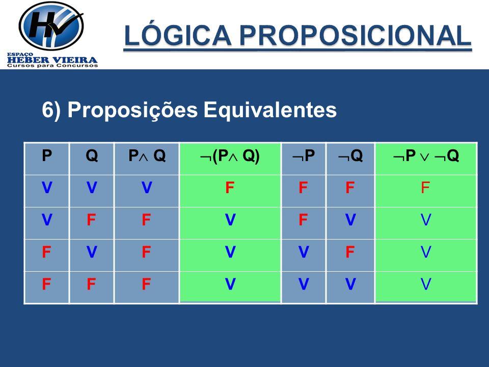6) Proposições Equivalentes PQ P Q (P Q) P Q P Q VVVFFFF VFFVFVV FVFVVFV FFFVVVV