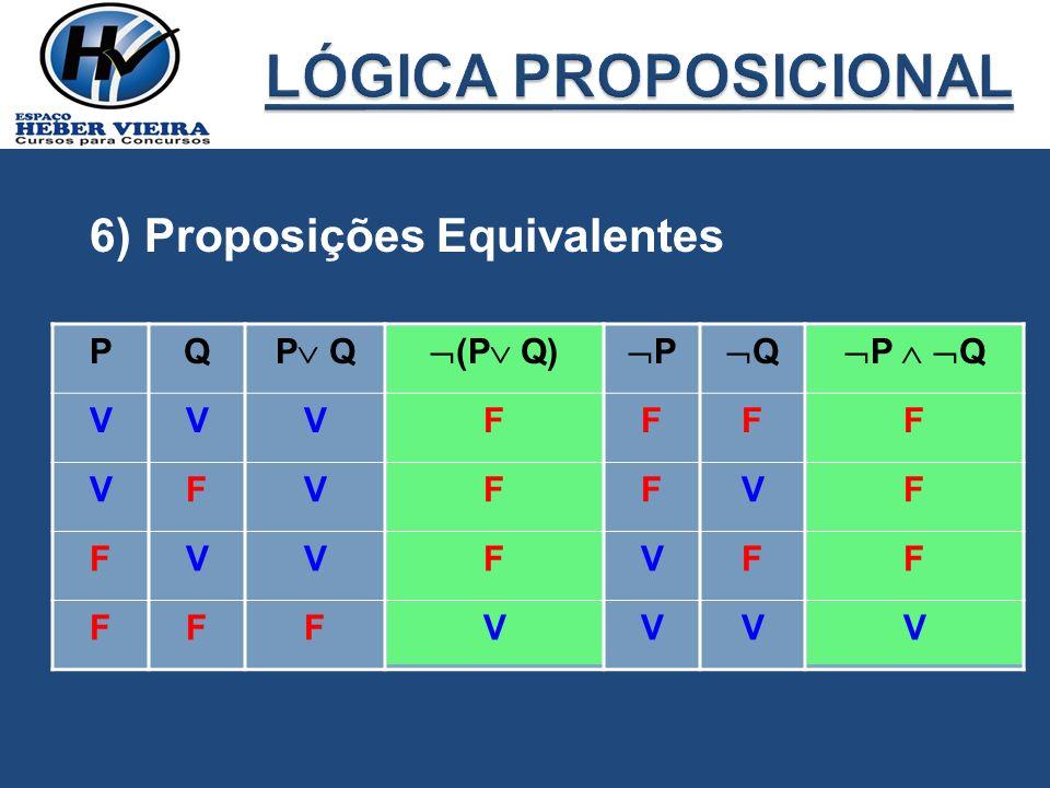 6) Proposições Equivalentes PQ P Q (P Q) P Q P Q VVVFFFF VFVFFVF FVVFVFF FFFVVVV