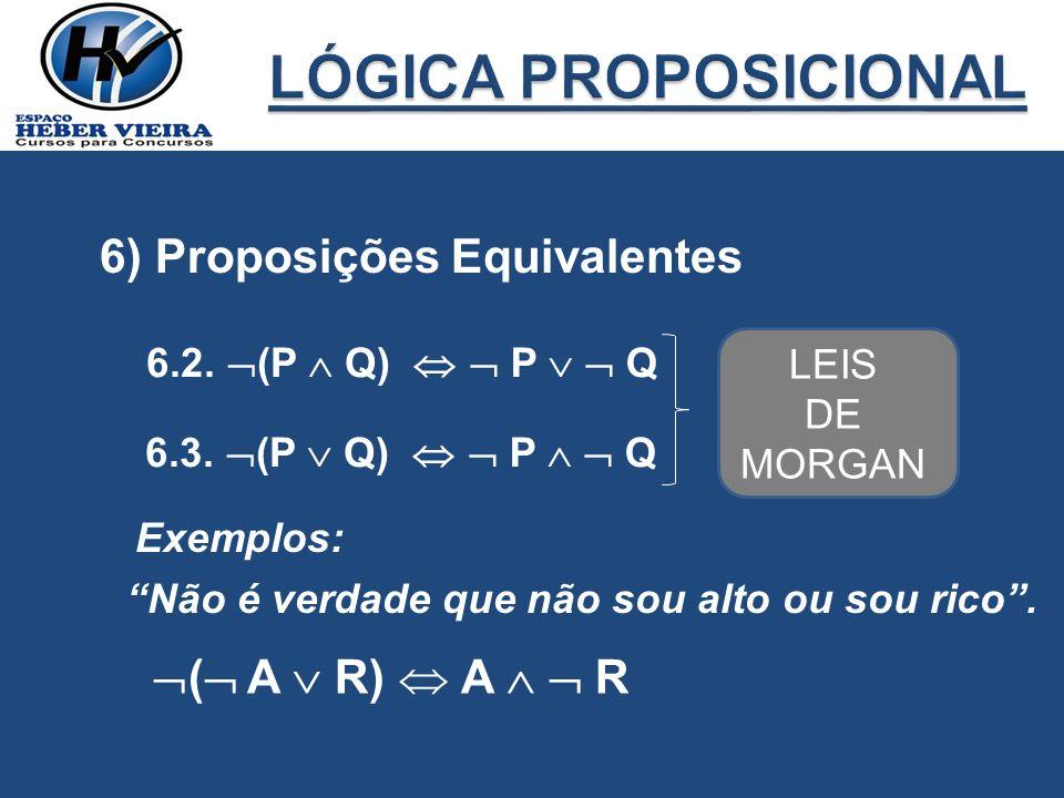 6) Proposições Equivalentes 6.2. (P Q) P Q 6.3. (P Q) P Q LEIS DE MORGAN Exemplos: Não é verdade que não sou alto ou sou rico. ( A R) A R