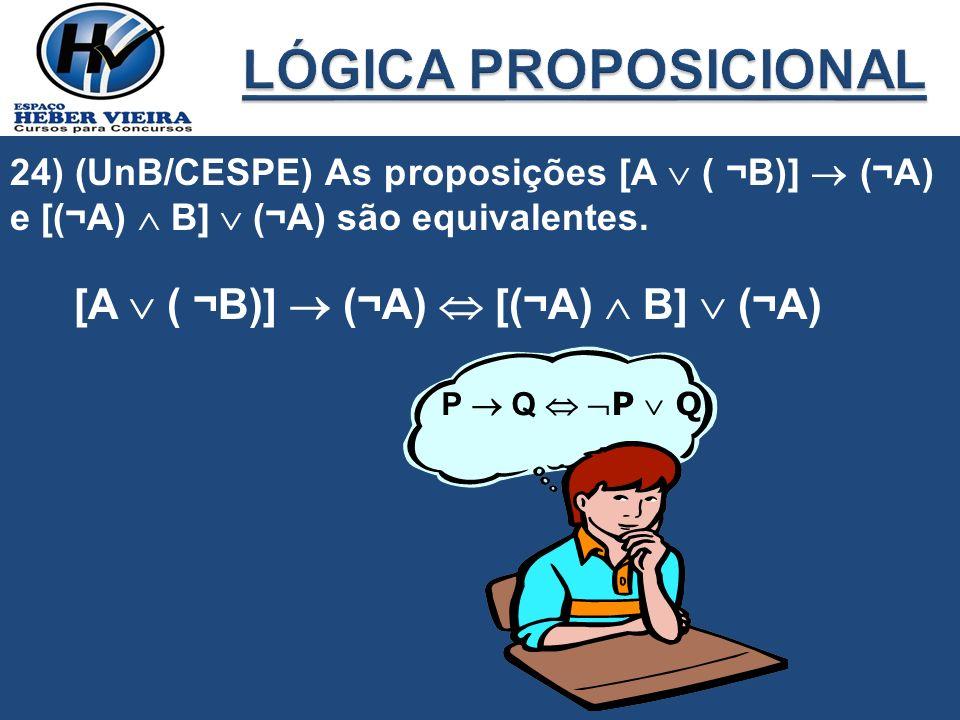 24) (UnB/CESPE) As proposições [A ( ¬B)] (¬A) e [(¬A) B] (¬A) são equivalentes. [A ( ¬B)] (¬A) [(¬A) B] (¬A) P QP Q