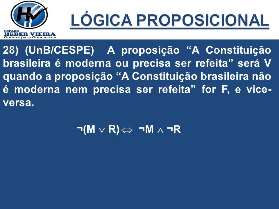 28) (UnB/CESPE) A proposição A Constituição brasileira é moderna ou precisa ser refeita será V quando a proposição A Constituição brasileira não é mod