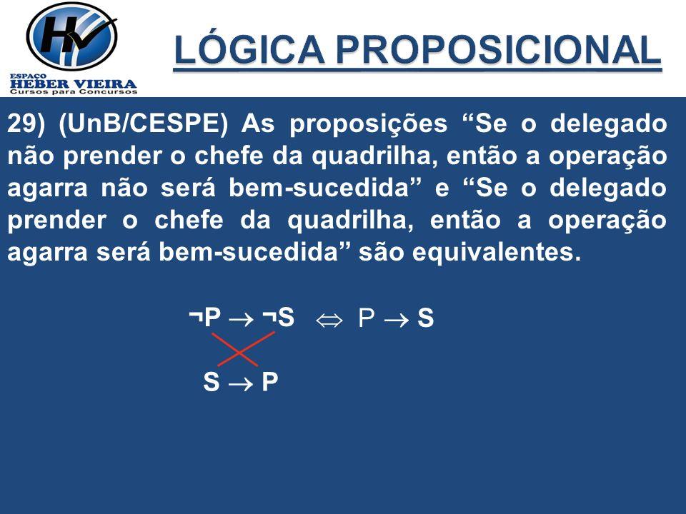 29) (UnB/CESPE) As proposições Se o delegado não prender o chefe da quadrilha, então a operação agarra não será bem-sucedida e Se o delegado prender o