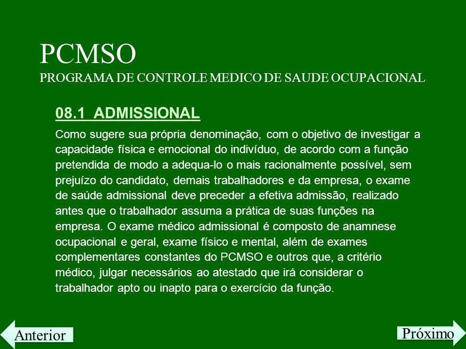 PCMSO PROGRAMA DE CONTROLE MEDICO DE SAUDE OCUPACIONAL 08.1 ADMISSIONAL Como sugere sua própria denominação, com o objetivo de investigar a capacidade