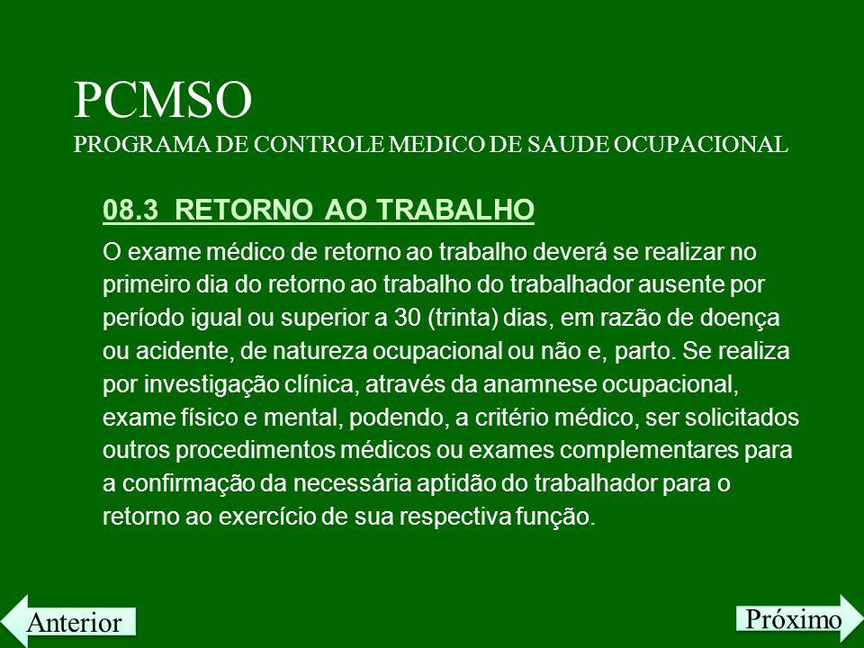 PCMSO PROGRAMA DE CONTROLE MEDICO DE SAUDE OCUPACIONAL 08.3 RETORNO AO TRABALHO O exame médico de retorno ao trabalho deverá se realizar no primeiro d