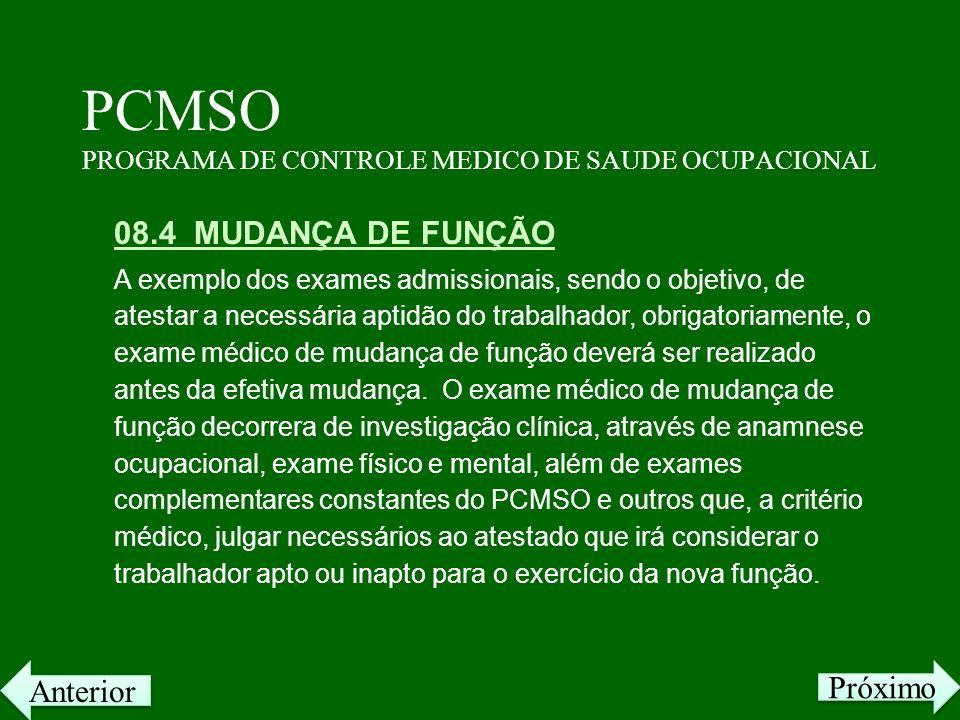 PCMSO PROGRAMA DE CONTROLE MEDICO DE SAUDE OCUPACIONAL 08.4 MUDANÇA DE FUNÇÃO A exemplo dos exames admissionais, sendo o objetivo, de atestar a necess