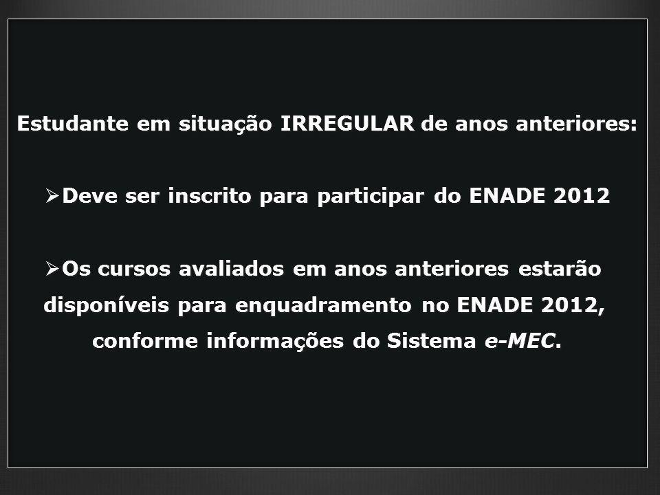 Estudante em situação IRREGULAR de anos anteriores: Deve ser inscrito para participar do ENADE 2012 Deve ser inscrito para participar do ENADE 2012 Os cursos avaliados em anos anteriores estarão Os cursos avaliados em anos anteriores estarão disponíveis para enquadramento no ENADE 2012, conforme informações do Sistema e-MEC.