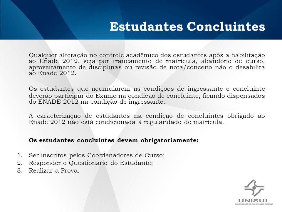 Estudantes Concluintes Qualquer alteração no controle acadêmico dos estudantes após a habilitação ao Enade 2012, seja por trancamento de matrícula, ab