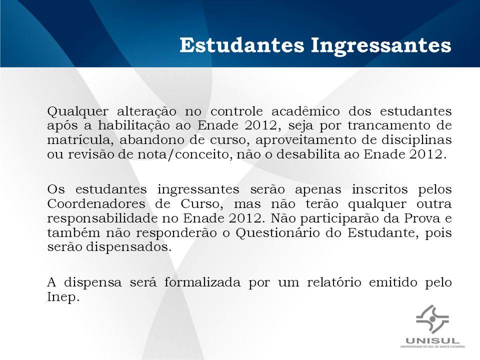 Estudantes Ingressantes Qualquer alteração no controle acadêmico dos estudantes após a habilitação ao Enade 2012, seja por trancamento de matrícula, a