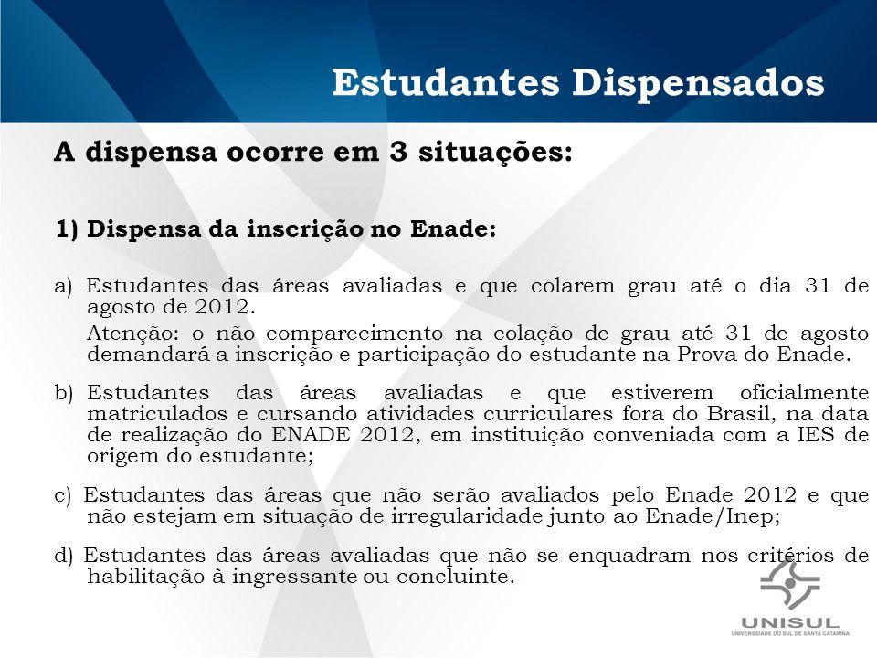 Estudantes Dispensados A dispensa ocorre em 3 situações: 1)Dispensa da inscrição no Enade: a) Estudantes das áreas avaliadas e que colarem grau até o dia 31 de agosto de 2012.