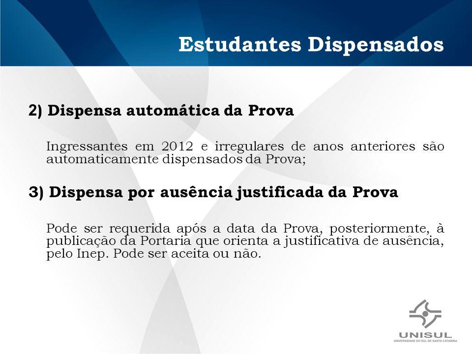 Estudantes Dispensados 2 ) Dispensa automática da Prova Ingressantes em 2012 e irregulares de anos anteriores são automaticamente dispensados da Prova