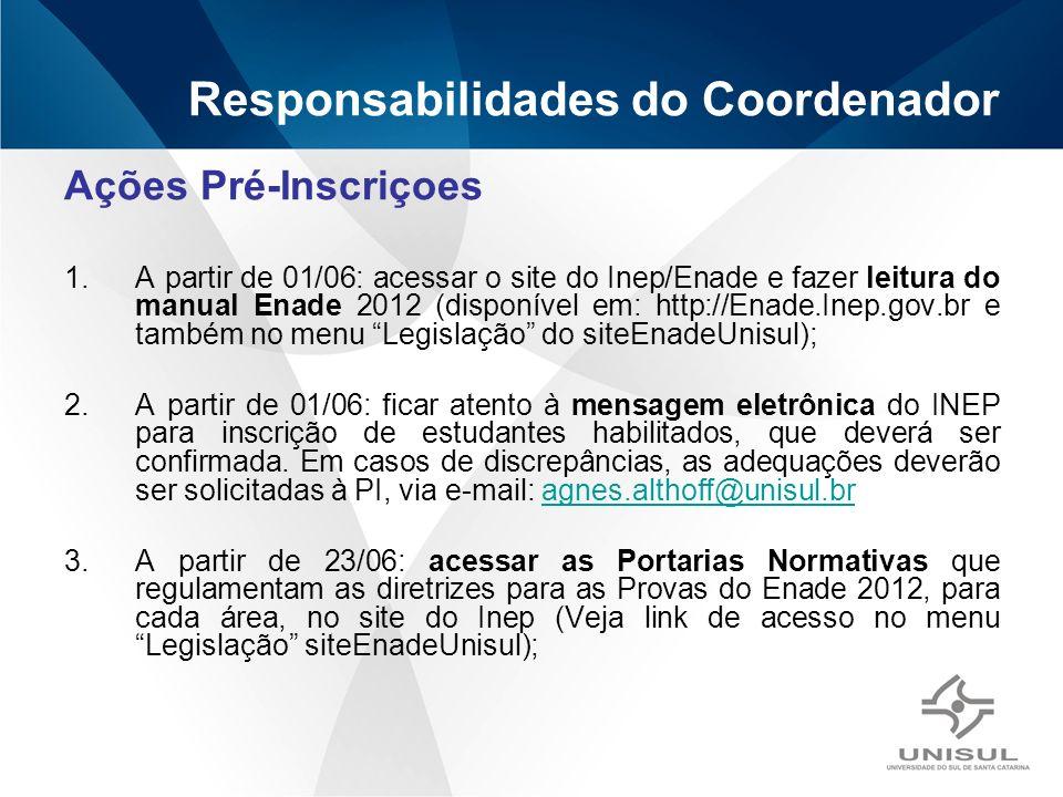 Responsabilidades do Coordenador Ações Pré-Inscriçoes 1.A partir de 01/06: acessar o site do Inep/Enade e fazer leitura do manual Enade 2012 (disponível em: http://Enade.Inep.gov.br e também no menu Legislação do siteEnadeUnisul); 2.A partir de 01/06: ficar atento à mensagem eletrônica do INEP para inscrição de estudantes habilitados, que deverá ser confirmada.