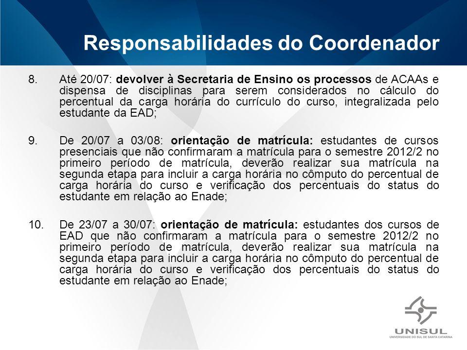 8.Até 20/07: devolver à Secretaria de Ensino os processos de ACAAs e dispensa de disciplinas para serem considerados no cálculo do percentual da carga