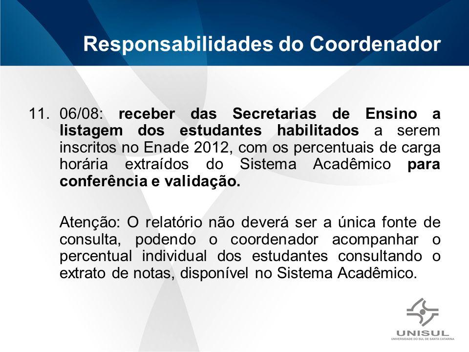 11.06/08: receber das Secretarias de Ensino a listagem dos estudantes habilitados a serem inscritos no Enade 2012, com os percentuais de carga horária