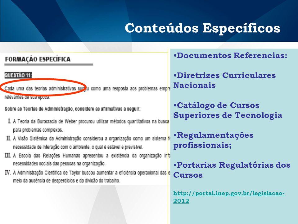 Conteúdos Específicos Documentos Referencias: Diretrizes Curriculares Nacionais Catálogo de Cursos Superiores de Tecnologia Regulamentações profissionais; Portarias Regulatórias dos Cursos http://portal.inep.gov.br/legislacao- 2012