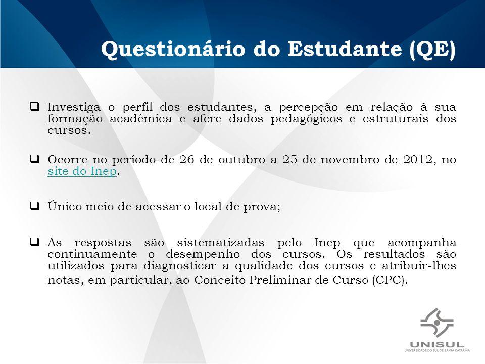 Questionário do Estudante (QE) Investiga o perfil dos estudantes, a percepção em relação à sua formação acadêmica e afere dados pedagógicos e estruturais dos cursos.