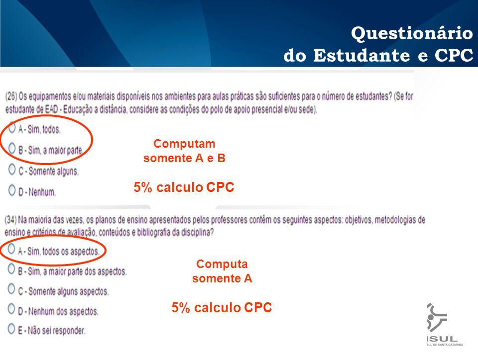 Questionário do Estudante e CPC Computam somente A e B 5% calculo CPC Computa somente A 5% calculo CPC
