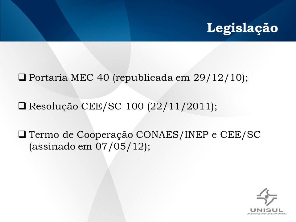 Legislação Portaria MEC 40 (republicada em 29/12/10); Resolução CEE/SC 100 (22/11/2011); Termo de Cooperação CONAES/INEP e CEE/SC (assinado em 07/05/12);