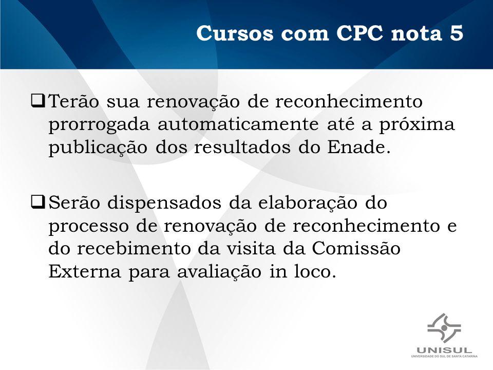 Cursos com CPC nota 5 Terão sua renovação de reconhecimento prorrogada automaticamente até a próxima publicação dos resultados do Enade. Serão dispens