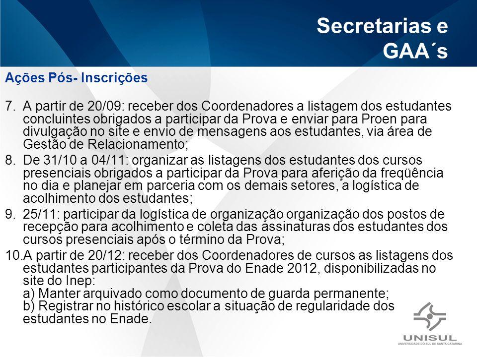 Secretarias e GAA´s Ações Pós- Inscrições 7.A partir de 20/09: receber dos Coordenadores a listagem dos estudantes concluintes obrigados a participar