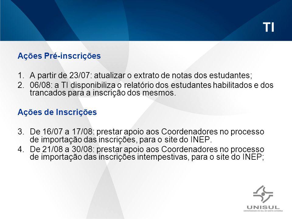 TI Ações Pré-inscrições 1.A partir de 23/07: atualizar o extrato de notas dos estudantes; 2.06/08: a TI disponibiliza o relatório dos estudantes habil