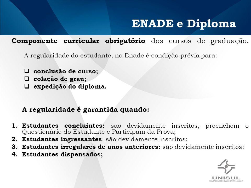 ENADE e Diploma Componente curricular obrigatório dos cursos de graduação. A regularidade do estudante, no Enade é condição prévia para: conclusão de