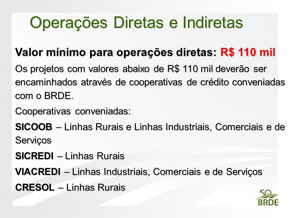 Valor mínimo para operações diretas: R$ 110 mil Os projetos com valores abaixo de R$ 110 mil deverão ser encaminhados através de cooperativas de crédi