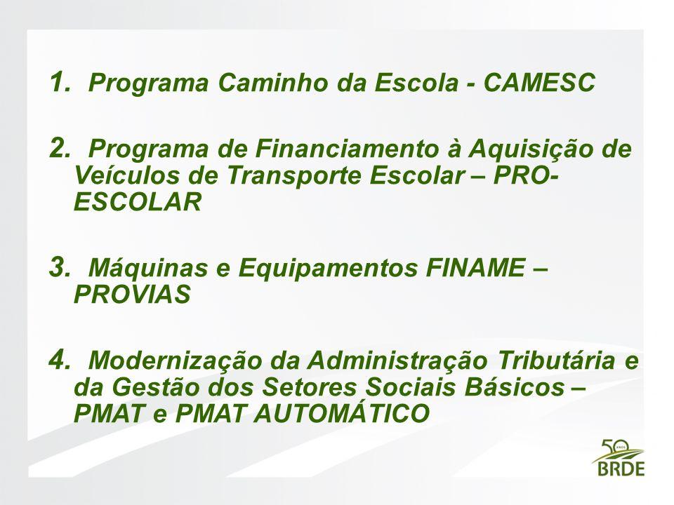 1. Programa Caminho da Escola - CAMESC 2. Programa de Financiamento à Aquisição de Veículos de Transporte Escolar – PRO- ESCOLAR 3. Máquinas e Equipam