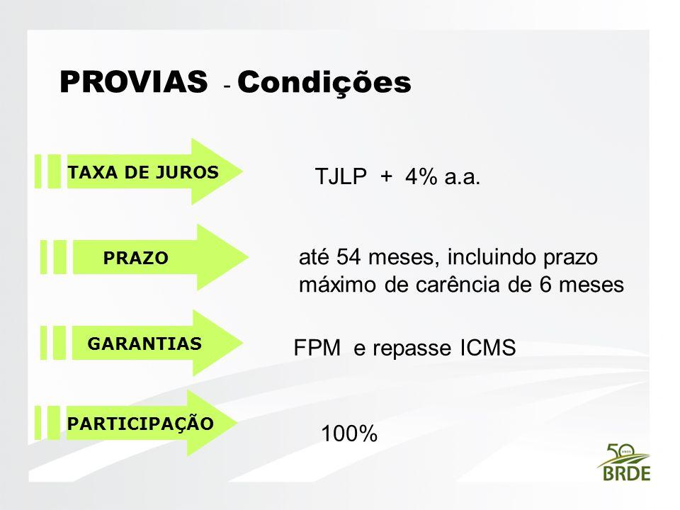 PROVIAS - Condições TAXA DE JUROS PRAZO GARANTIAS TJLP + 4% a.a. até 54 meses, incluindo prazo máximo de carência de 6 meses FPM e repasse ICMS PARTIC