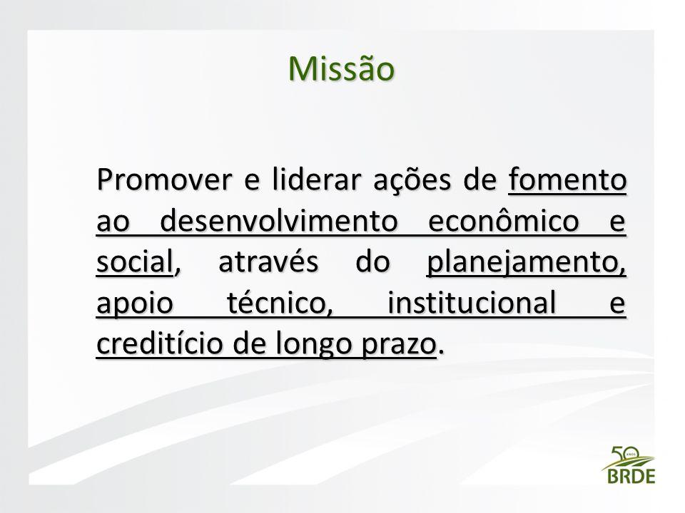 Promover e liderar ações de fomento ao desenvolvimento econômico e social, através do planejamento, apoio técnico, institucional e creditício de longo