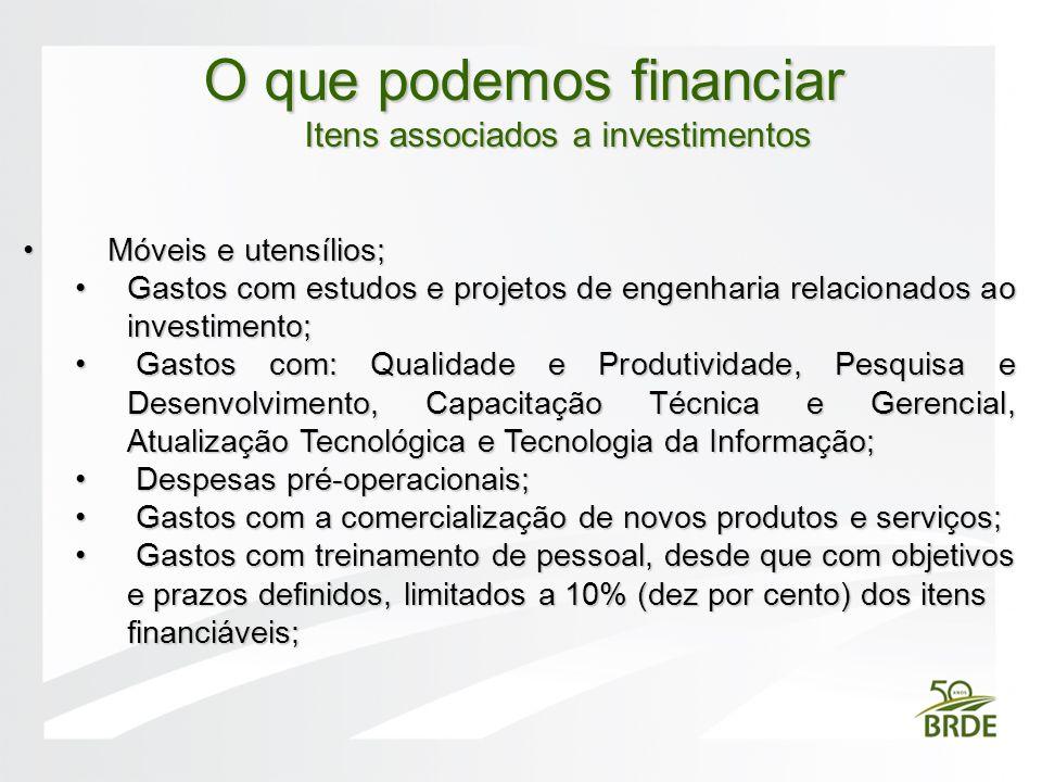 Móveis e utensílios; Móveis e utensílios; Gastos com estudos e projetos de engenharia relacionados ao investimento;Gastos com estudos e projetos de en