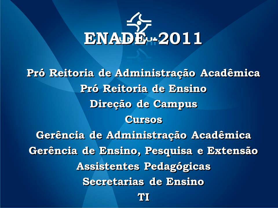 ENADE -2011 Pró Reitoria de Administração Acadêmica Pró Reitoria de Ensino Direção de Campus Cursos Gerência de Administração Acadêmica Gerência de Ensino, Pesquisa e Extensão Assistentes Pedagógicas Secretarias de Ensino TI ENADE -2011 Pró Reitoria de Administração Acadêmica Pró Reitoria de Ensino Direção de Campus Cursos Gerência de Administração Acadêmica Gerência de Ensino, Pesquisa e Extensão Assistentes Pedagógicas Secretarias de Ensino TI