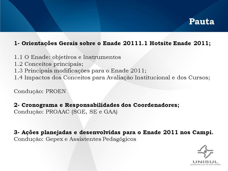 Pauta 1- Orientações Gerais sobre o Enade 20111.1 Hotsite Enade 2011; 1.1 O Enade: objetivos e Instrumentos 1.2 Conceitos principais; 1.3 Principais modificações para o Enade 2011; 1.4 Impactos dos Conceitos para Avaliação Institucional e dos Cursos; Condução: PROEN 2- Cronograma e Responsabilidades dos Coordenadores; Condução: PROAAC (SGE, SE e GAA) 3- Ações planejadas e desenvolvidas para o Enade 2011 nos Campi.