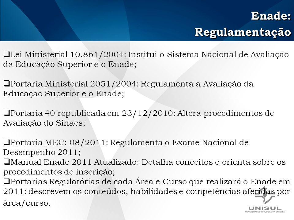 Enade: Regulamentação Enade: Regulamentação Lei Ministerial 10.861/2004: Institui o Sistema Nacional de Avaliação da Educação Superior e o Enade; Portaria Ministerial 2051/2004: Regulamenta a Avaliação da Educação Superior e o Enade; Portaria 40 republicada em 23/12/2010: Altera procedimentos de Avaliação do Sinaes; Portaria MEC: 08/2011: Regulamenta o Exame Nacional de Desempenho 2011; Manual Enade 2011 Atualizado: Detalha conceitos e orienta sobre os procedimentos de inscrição; Portarias Regulatórias de cada Área e Curso que realizará o Enade em 2011: descrevem os conteúdos, habilidades e competências aferidas por área/curso.