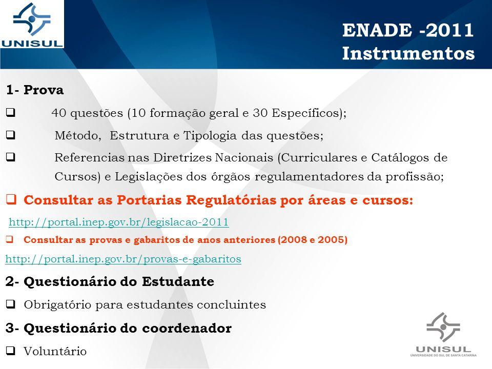 1- Prova 40 questões (10 formação geral e 30 Específicos); Método, Estrutura e Tipologia das questões; Referencias nas Diretrizes Nacionais (Curriculares e Catálogos de Cursos) e Legislações dos órgãos regulamentadores da profissão; Consultar as Portarias Regulatórias por áreas e cursos: http://portal.inep.gov.br/legislacao-2011 Consultar as provas e gabaritos de anos anteriores (2008 e 2005) http://portal.inep.gov.br/provas-e-gabaritos 2- Questionário do Estudante Obrigatório para estudantes concluintes 3- Questionário do coordenador Voluntário ENADE -2011 Instrumentos