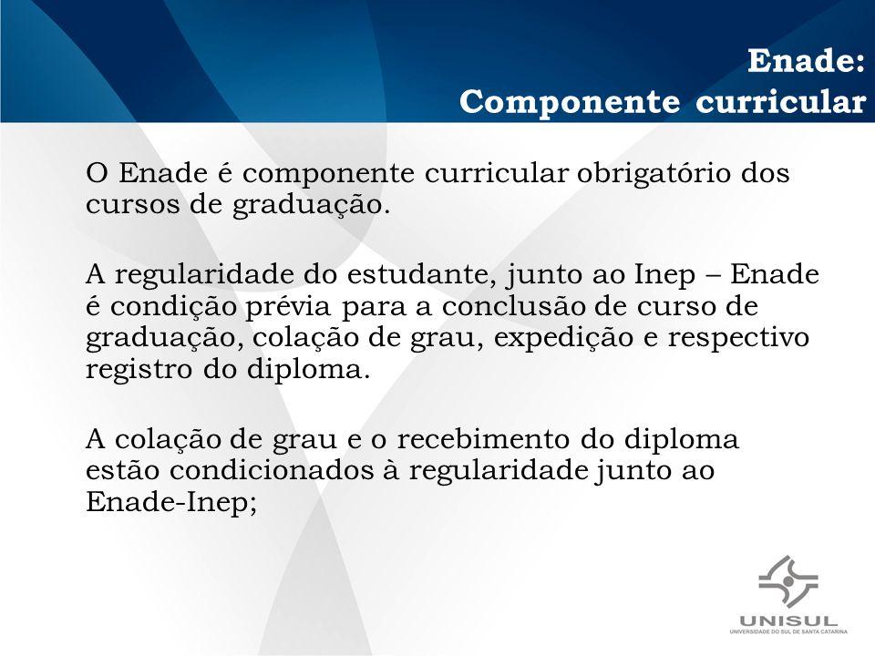 Enade: Componente curricular O Enade é componente curricular obrigatório dos cursos de graduação.