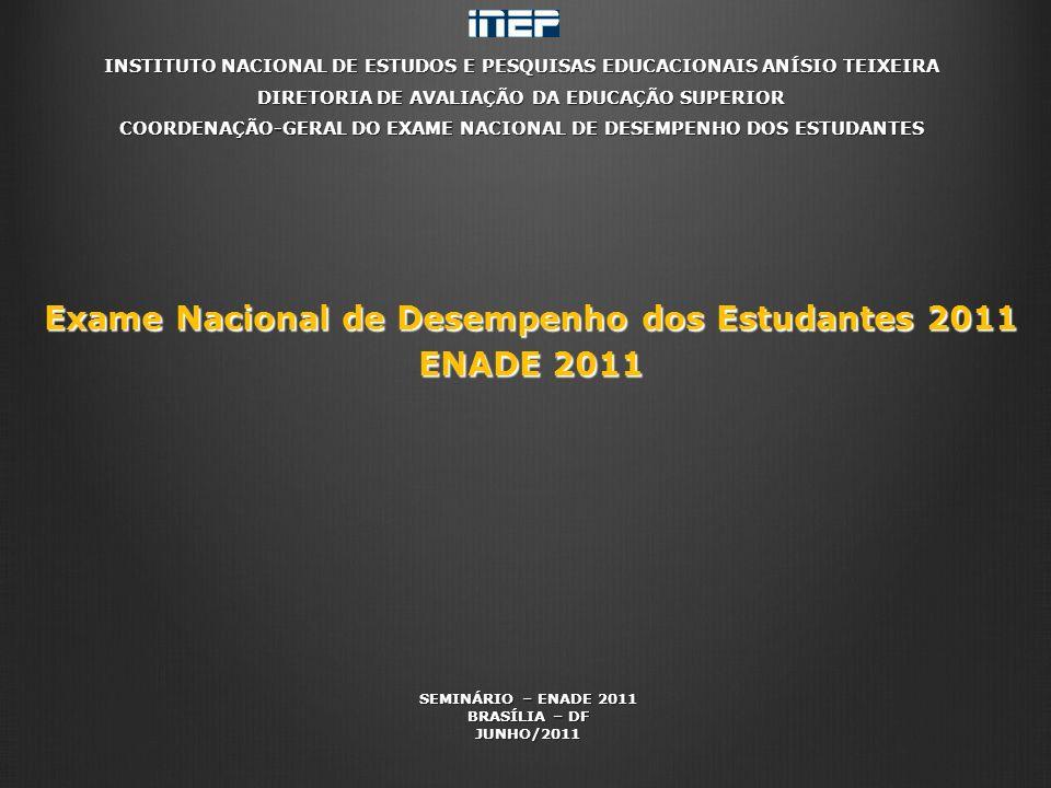INSTITUTO NACIONAL DE ESTUDOS E PESQUISAS EDUCACIONAIS ANÍSIO TEIXEIRA DIRETORIA DE AVALIAÇÃO DA EDUCAÇÃO SUPERIOR COORDENAÇÃO-GERAL DO EXAME NACIONAL DE DESEMPENHO DOS ESTUDANTES Exame Nacional de Desempenho dos Estudantes 2011 ENADE 2011 SEMINÁRIO – ENADE 2011 BRASÍLIA – DF JUNHO/2011