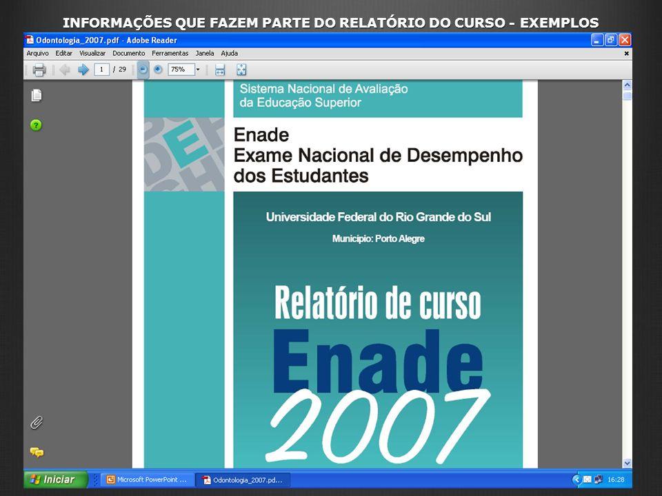 INFORMAÇÕES QUE FAZEM PARTE DO RELATÓRIO DO CURSO - EXEMPLOS
