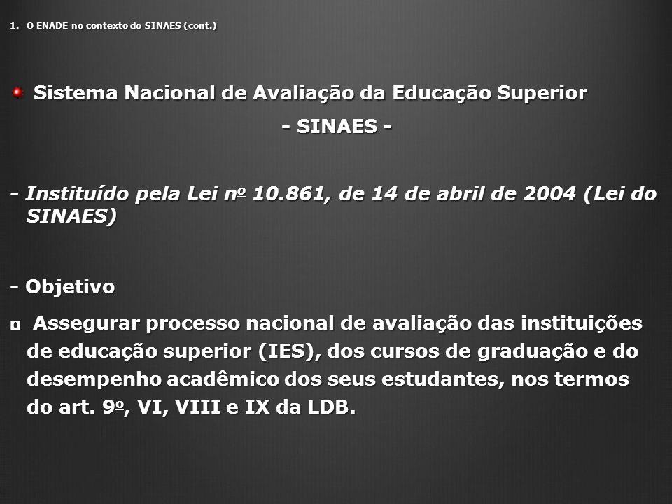 1.O ENADE no contexto do SINAES (cont.) Sistema Nacional de Avaliação da Educação Superior Sistema Nacional de Avaliação da Educação Superior - SINAES - - SINAES - - Instituído pela Lei n o 10.861, de 14 de abril de 2004 (Lei do SINAES) - Objetivo Assegurar processo nacional de avaliação das instituições de educação superior (IES), dos cursos de graduação e do desempenho acadêmico dos seus estudantes, nos termos do art.