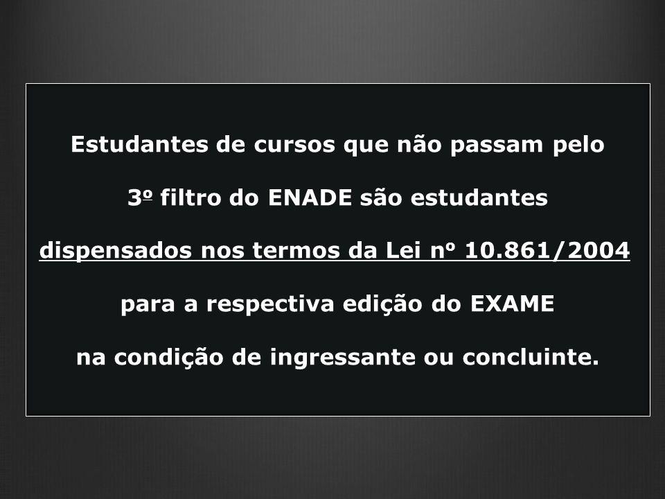 Estudantes de cursos que não passam pelo 3 o filtro do ENADE são estudantes dispensados nos termos da Lei n o 10.861/2004 para a respectiva edição do EXAME na condição de ingressante ou concluinte.
