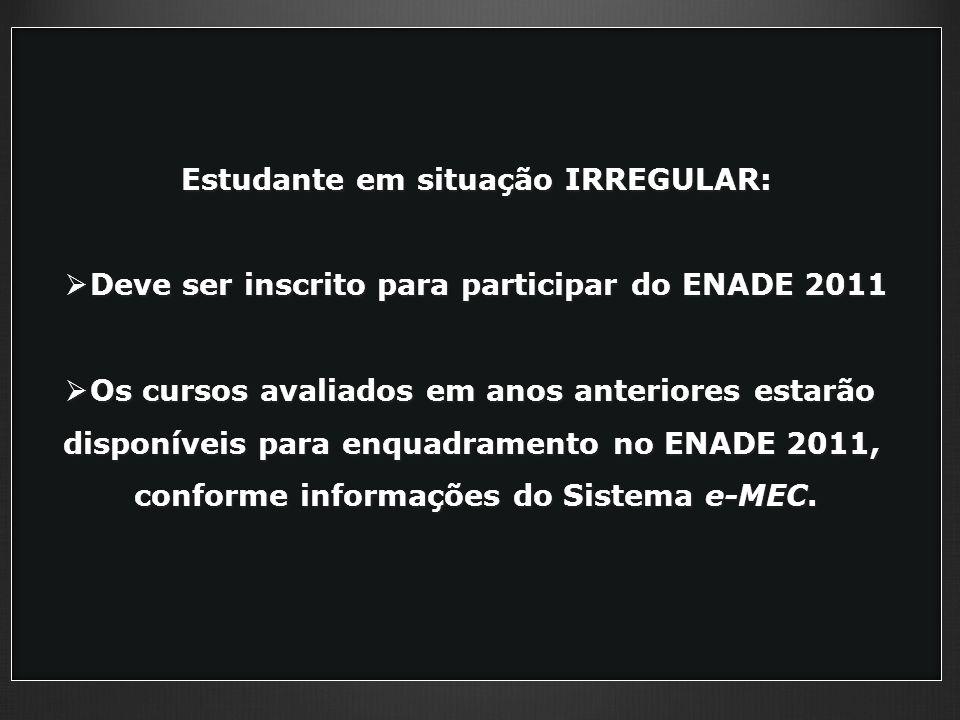 Estudante em situação IRREGULAR: Deve ser inscrito para participar do ENADE 2011 Deve ser inscrito para participar do ENADE 2011 Os cursos avaliados em anos anteriores estarão Os cursos avaliados em anos anteriores estarão disponíveis para enquadramento no ENADE 2011, conforme informações do Sistema e-MEC.