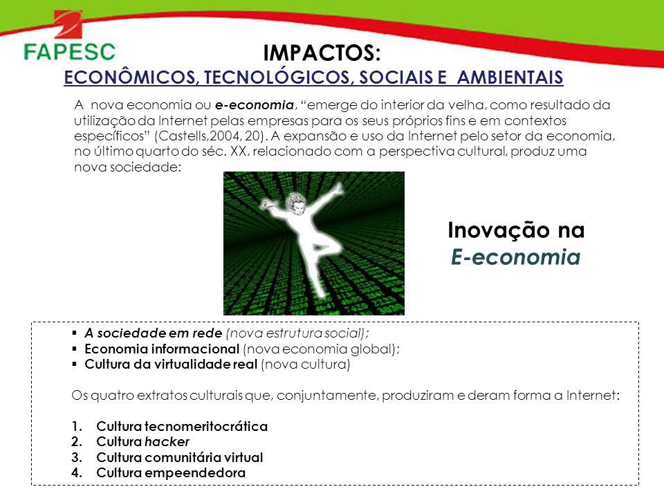 Inovação na E-economia A nova economia ou e-economia, emerge do interior da velha, como resultado da utilização da Internet pelas empresas para os seus próprios fins e em contextos específicos (Castells,2004, 20).