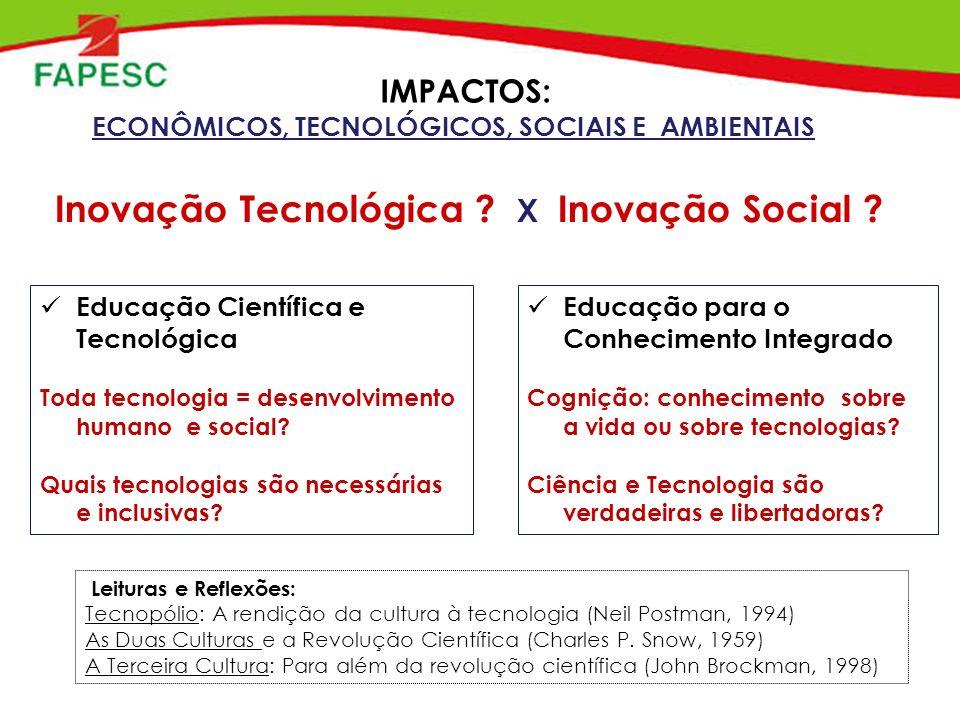 Inovação Tecnológica . X Inovação Social .