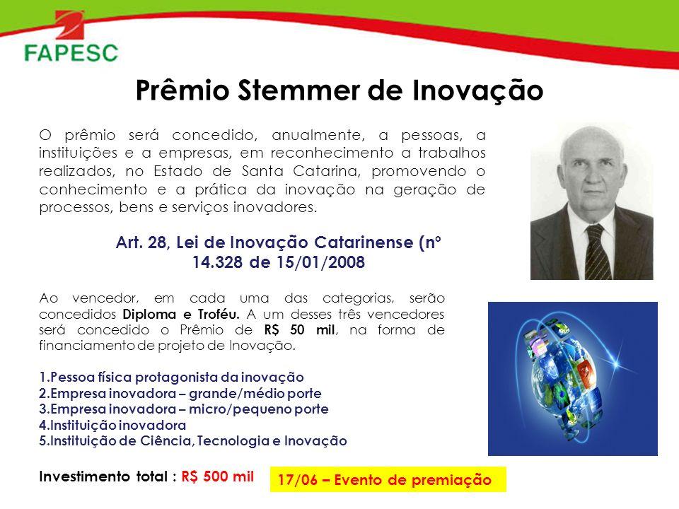 Prêmio Stemmer de Inovação O prêmio será concedido, anualmente, a pessoas, a instituições e a empresas, em reconhecimento a trabalhos realizados, no Estado de Santa Catarina, promovendo o conhecimento e a prática da inovação na geração de processos, bens e serviços inovadores.