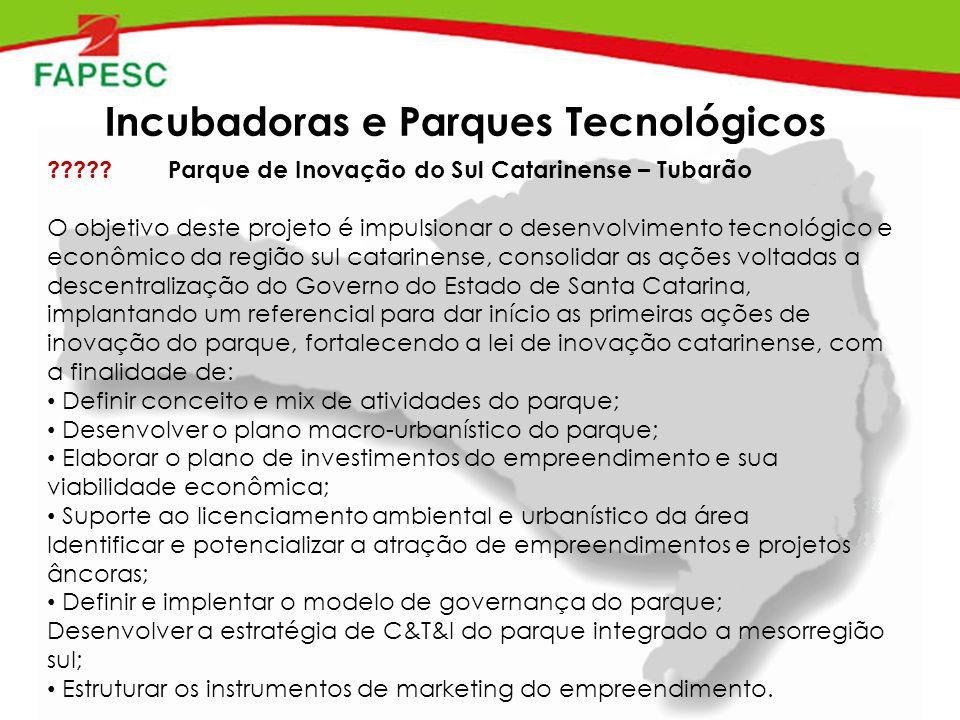 Incubadoras e Parques Tecnológicos .