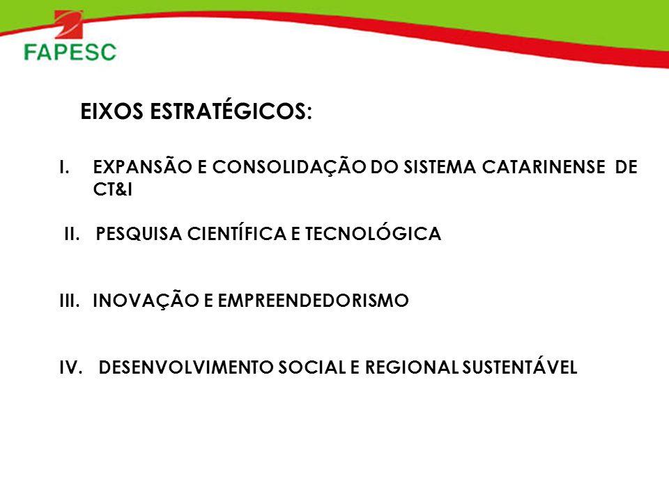 EIXOS ESTRATÉGICOS: I.EXPANSÃO E CONSOLIDAÇÃO DO SISTEMA CATARINENSE DE CT&I II.
