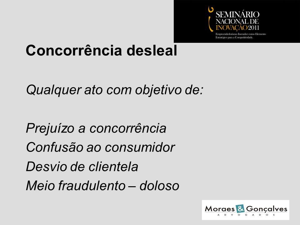 Concorrência desleal Qualquer ato com objetivo de: Prejuízo a concorrência Confusão ao consumidor Desvio de clientela Meio fraudulento – doloso Seminário Nacional de Inovação 2011