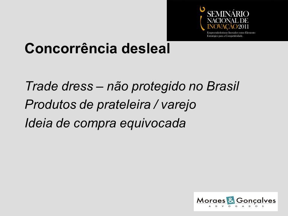 Concorrência desleal Trade dress – não protegido no Brasil Produtos de prateleira / varejo Ideia de compra equivocada Seminário Nacional de Inovação 2011